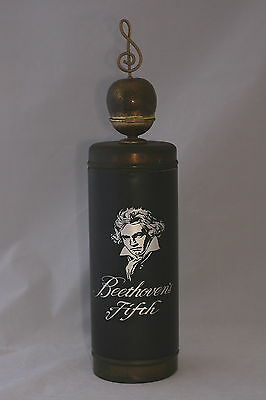 Vintage 60's Beethoven's Fifth Musical Reusable Metal & Glass Whiskey Decanter
