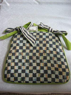 Qty 4 Mackenzie Childs COURTLY CHECK Fabric SEAT CUSHION Green Bottom/STRIPE NEW