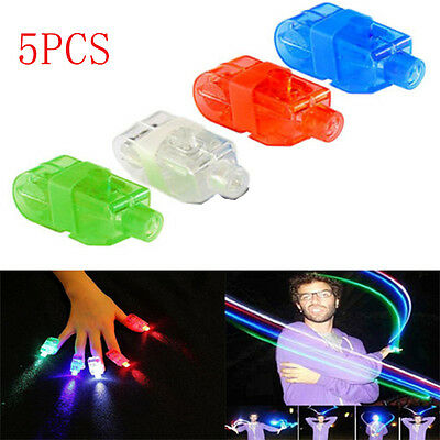 5PCS LED Finger Lights Glow Light UP Beam Party Fillers Concert Ring Flashing