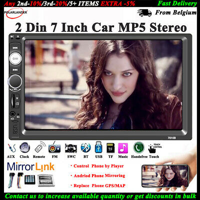7'' 2 DIN Touch Screen Car Radio Bluetooth Stereo Audio USB/TF/AUX/FM/Remote MP5