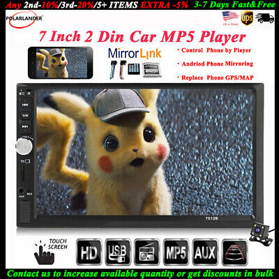 """7""""2Din Touch Car MP5+Camera Stereo FM Bluetooth Radio Player Mirror Link In-Dash"""