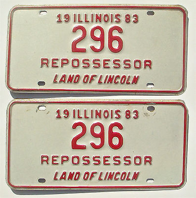 Illinois 1983 Repossessor Pair Vintage License Plate Garage Old Tag Man Cave YOM
