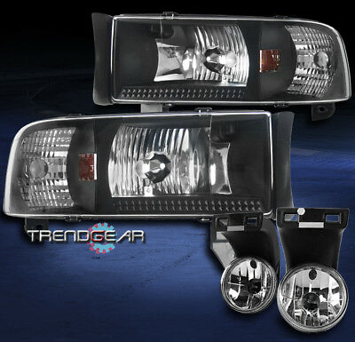 1994-2001 Dodge Ram Pickup Black Crystal Headlights W/Chrome Driving Fog Lights