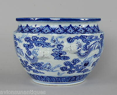 Blue White Japanese Hirado Porcelain Bowl or Jardiniere Dragons Chasing Pearls