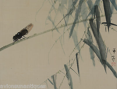 Vintage Chinese Water Colour Painting on Silk of an Insect & Bamboo Color
