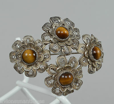 c1920-30 Chinese Silver filigree and Tigers Eye Stone Flower Brooch Pin