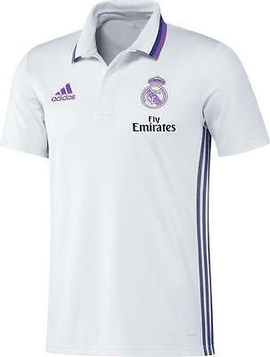 Fly Emirates Real Madrid Adidas Polo Trikot Shirt Weiß Kurze armel 2016 17