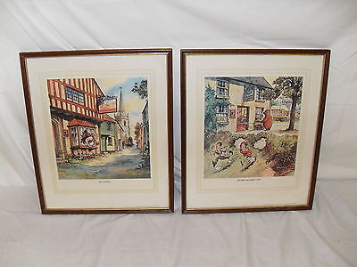1974 Norman Thelwell Guinness Inns Signs Cartoons - Framed