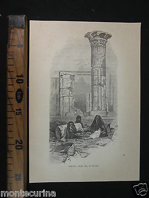 1893 FAMIGLIA ARABA ROVINE CAIRO ANTICA STAMPA EGITTO Egypt مصر‎ antique D232