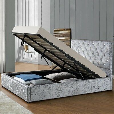 Luxury Silver Crushed Velvet Storage Ottoman Fabric Bed Frame Double King Size