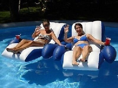 Set of 2 Intex Floating Inflatable Recliner Swimming Pool Lounge Chair Raft
