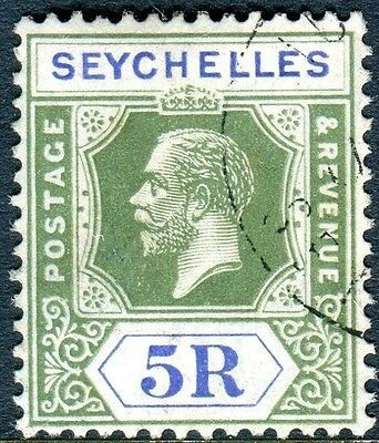 SEYCHELLES-1921-32 5r Yellow Green & Blue.  A very fine used example Sg 123