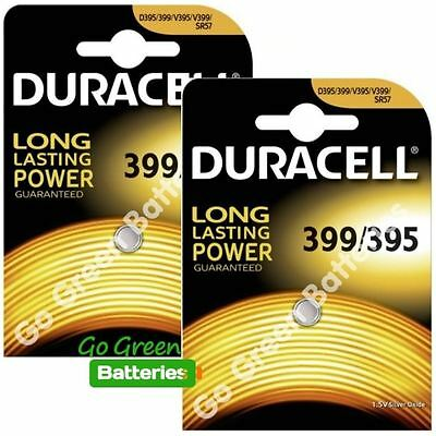 2x Duracell 399/395 1.5V Silver Oxide watch battery SR57 D395/399 V395 V399