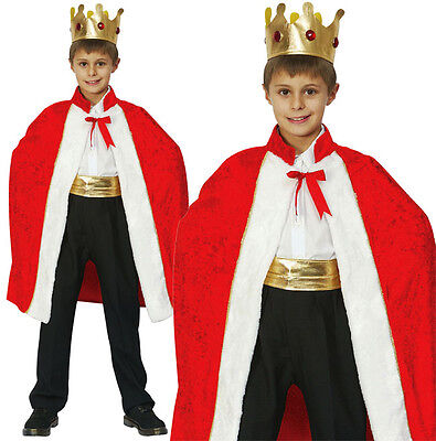 Childrens Kids Red Royal Robe King Fancy Dress Costume Boys Outfit Cloak L