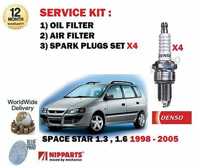 For Mitsubishi Space Star 1.3 1.6 1998-2005 Oil Air Filter Kit + Spark Plug Set