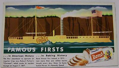 1940's BOND BREAD ADVERTISING BLOTTER FAMOUS ROB FULTON STEAMBOAT CLAREMONT (2)