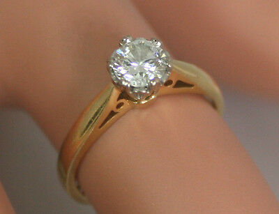 Fine18ct Gold 0.50ct Half Carat Diamond Solitaire Engagement Ring Size J 1/2