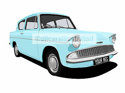 Ford Anglia Car Art Print Picture (Size A4). Personalise It!