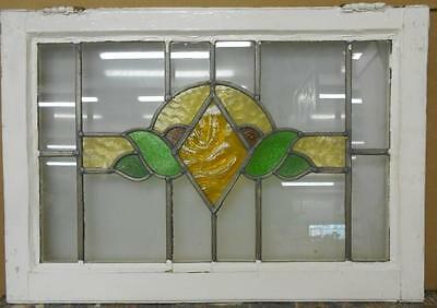 "OLD ENGLISH LEADED STAINED GLASS WINDOW TRANSOM Awesome Floral 27.25"" x 19.25"""