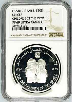 UAE United Arab Emirates 1998 Silver Coin 50 Dirhams UNICEF Children NGC PF69