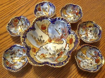 Antique Nut Bowl Master Set Berry Footed Gold Trim Cobalt Handpainted Oriental