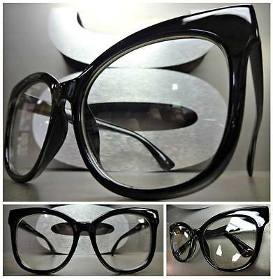 OVERSIZED EXAGGERATED VINTAGE CAT EYE Style Clear Lens EYE GLASSES Black Frame