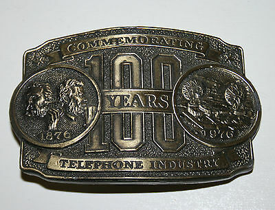 Vintage Limited Edition 100 Years 1976 Telephone Industry Brass Belt Buckle