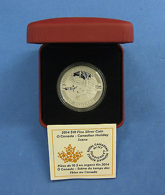"""2014 Canada Silver Proof $10 coin """"Holiday Scene"""" in Case with COA (R2/76)"""