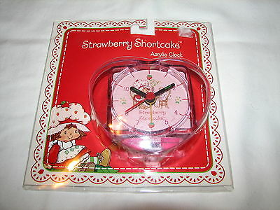 Strawberry Shortcake Acrylic Heart Desk Office Clock Alarm MIP New 2003 TCFC