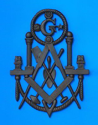 "Masonic Plaque 12""x18"" Emblem Resin Cold/Cast Resin Iron patina Lodge Decor"