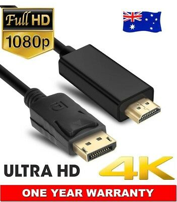 DP Displayport Display Port to HDMI Cable Male to Male Full HD HDTV High Speed