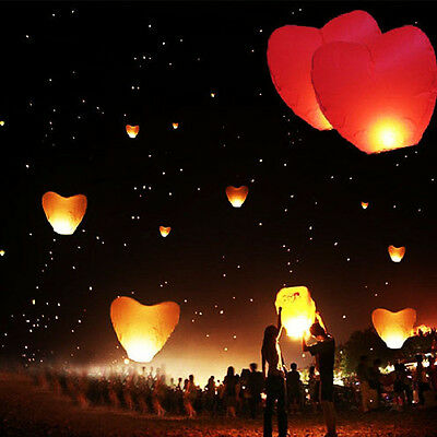 Heart Love Paper Sky Flying Wishing Lantern Lamp Candle Party Wedding Wish