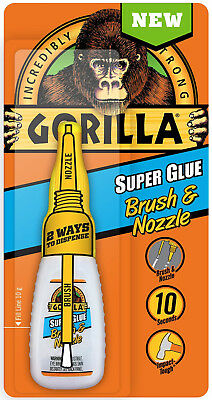 Gorilla Super Glue Brush & Nozzle Bottle Fine Bristle Brush and Precision Tip