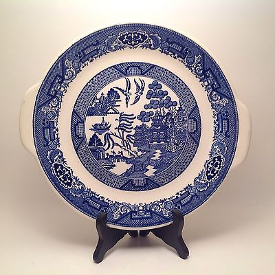 "Vintage Blue Willow 10"" Cake Plate Serving Platter Willow Ware Royal China"
