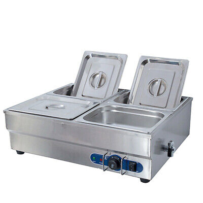 4 Pots Bain Marie Catering Wet Well Wet Heat Electric Food Warmer