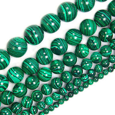 "Malachite Gem Round Loose Spacer Beads Strand 15.5"" 6mm 8mm 10mm 12mm 14mm,20mm"