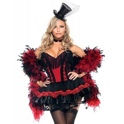 Two Tone Feather Boa Red & Black Costume Accessory Adult