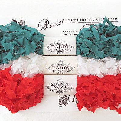 NEW Crinkled Seam Binding Scrunched Rayon Ribbon-Red-White-Green 15 YARDS