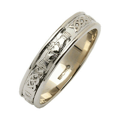 Mens Narrow Rounded Claddagh Wedding Ring Silver