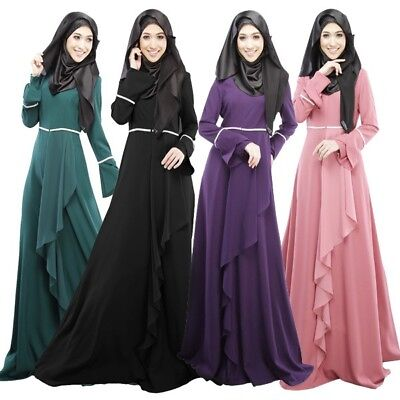 Women Long Sleeve Abaya Jilbab Kaftan Solid Long Maxi Dress Islamic Party Wear