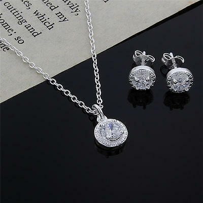 nice 925 silver Crystal wedding necklace earring jewelry set charm women cute