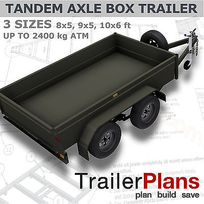 Trailer Plans- TANDEM BOX TRAILER PLANS-3 sizes 8x5, 9x5,10x6ft- PLANS ON CD-ROM