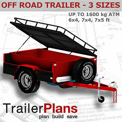 Trailer Plans- OFFROAD CAMPER TRAILER PLANS- 7x4ft,6x4ft & 7x5ft-PLANS ON CD-ROM