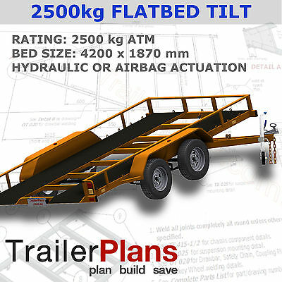 Trailer Plans - TILT FLATBED CAR TRAILER PLANS (14x6ft) - 2500kg - PLANS ON USB