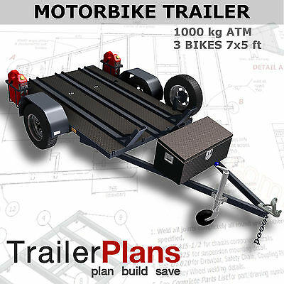 Trailer Plans - MOTORBIKE TRAILER PLANS - 3 Bike Design 7x5ft - PLANS ON CD-ROM
