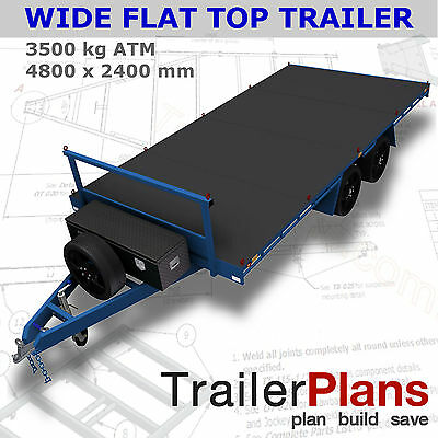 Trailer Plans- 4.8m FLAT TOP TRAILER PLANS- PRINTED HARDCOPY-Car Trailer,Flatbed