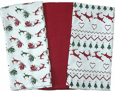 Cotton Tea Towels Pack of 3 - 4 different Christmas designs to choose from