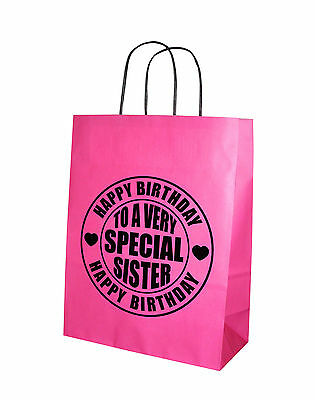 To A Very Special Sister Happy Birthday Hot Pink Paper Gift Bag 24 x 31cm Medium