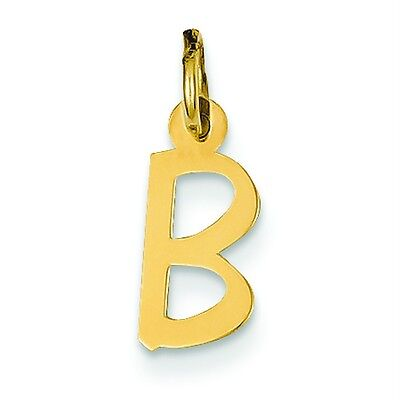Solid 14k Yellow Gold Small Slanted Block Initial B Pendant Charm 6mm x 15mm