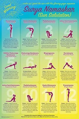 YOGA SUN SALUTATION - CHART POSTER 24x36 - EXERCISE FITNESS 10955